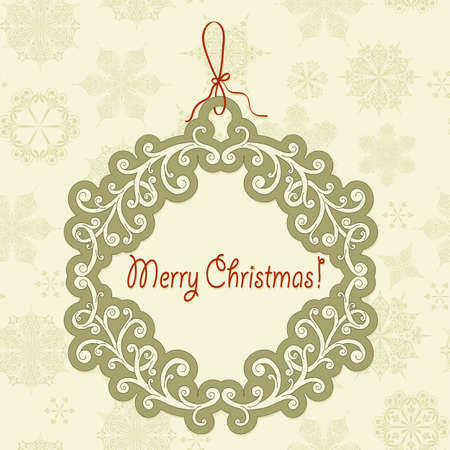 vector hanging frame with christmas greetings on seamless pattern with snowflakes Stock Vector - 15914465