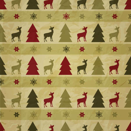 vector seamless christmas winter pattern with fir trees, deers, and snowflakes on crumpled paper texture Stock Vector - 15914472