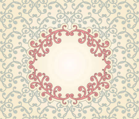 vector floral seamless vintage pattern with floral frame for your text Vector