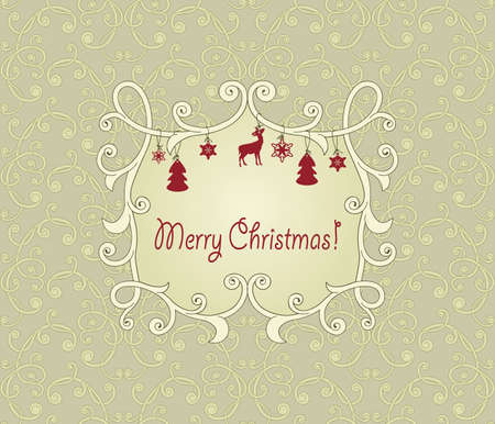 floral seamless vintage pattern with christmas greetings in floral frame with fir tree toys Vector