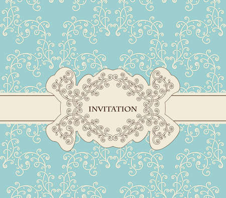 invitation on floral frame and seamless floral pattern Vector