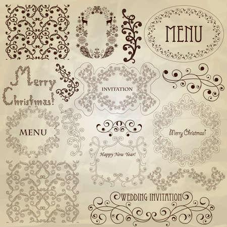 vintage design elements on crumpled paper texture Stock Vector - 16135062
