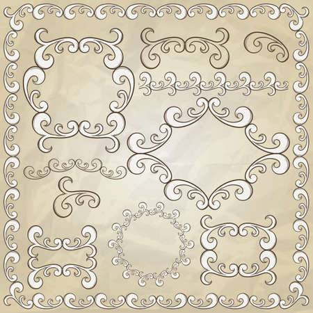 hand drawn frame: vintage design elements on crumpled paper texture