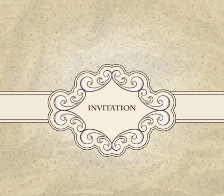 invitation on floral frame and seamless floral pattern crumpled paper texture Vector