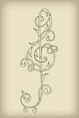 clef de fa: vecteur floral vintage cl� de sol sur fond maille, rewtor, le style, enti�rement �ditables eps 8 fichier avec filet