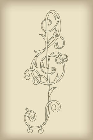 vector floral vintage  G clef on mesh  background, rewtor, style, fully editable eps 8 file with mesh Vector