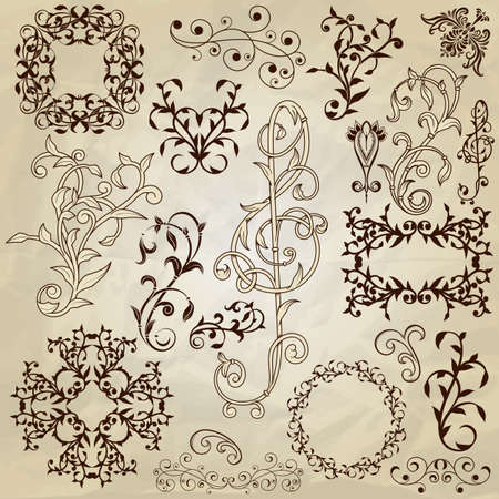 vector  floral pattern design elements on crumpled paper texture, fully editable eps 10 file Vector