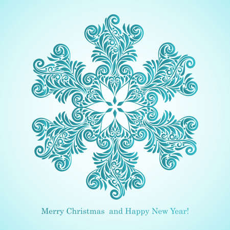 vector greeting card with  Merry Christmas and Happy New Year   greetings and hoghly detailed snowflake, fully editable eps 8 file with AI standard font  century  Vector