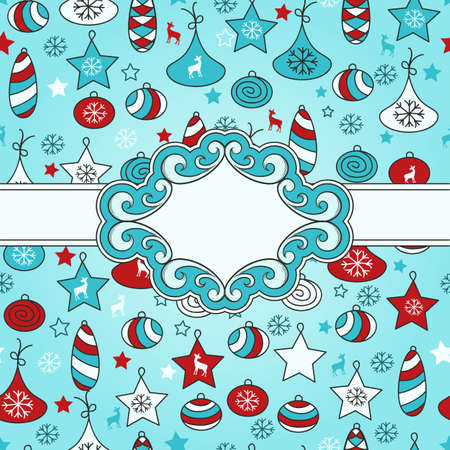 winter season: vector seamless Christmas pattern with fir tree toys with Frame for your text Illustration