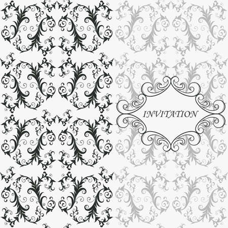 monotype: vector vintage invitation on seamless  floral pattern and floral frame,  fully editable eps 8 file, seamless pattern in swatch menu, standatd AI font  monotype coursiva