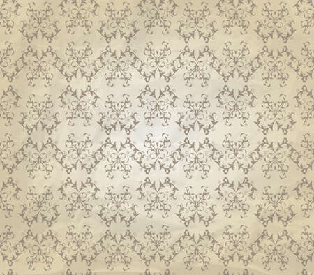 filly: vector vintage seamless pattern on crumpled paper texture, seamless pattern in swatch menu, filly editable eps 10 file with transparemcy effects