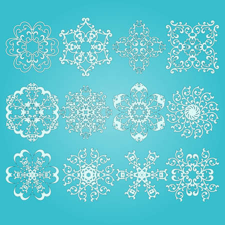 8 12: 12 vector highly  detailed snowflakes, fully editable eps 8 file