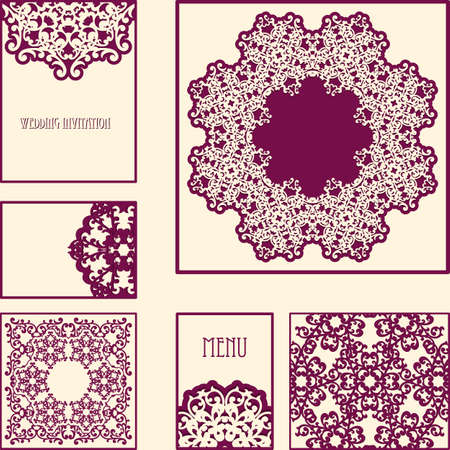 vintage cards, invitation or menu templates with lacy patterns Stock Vector - 16520063