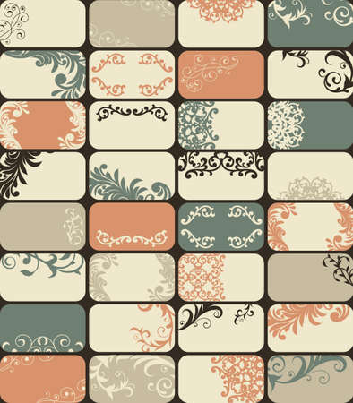 32 retro style business cards with unique floral patterns Vector