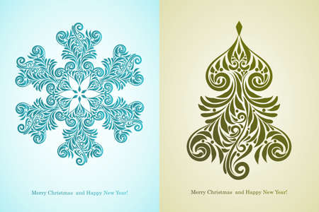 greeting card with  Merry Christmas and Happy New Year   greetings Vector