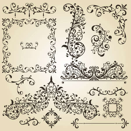ornamental scroll: vintage floral  design elements on gradient background Illustration
