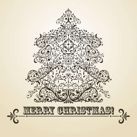 vintage Christmas greeting card with highly detailed fir tree on gradient background