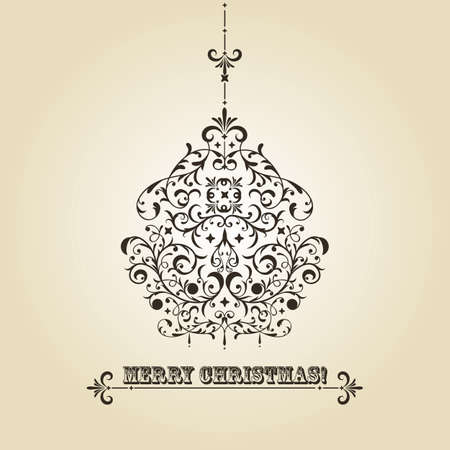dark beige: vintage Christmas greeting card with highly detailed fir tree ball on gradient background