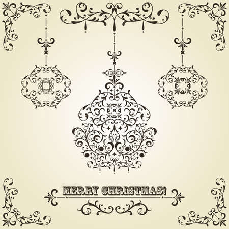 vintage Christmas greeting card with highly detailed fir tree balls on gradient background and vintage floral frame Vector