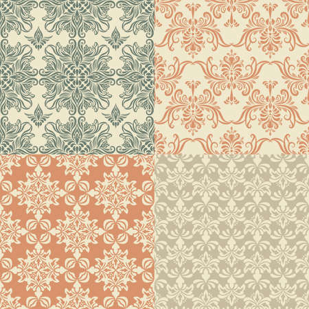 vector seamless vintage wallpaper patterns Vector