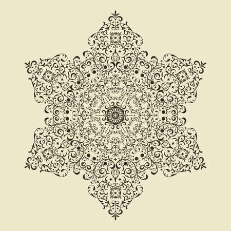 corner design: vector vintage hvintage highly detailed hexagon  snowflake Illustration