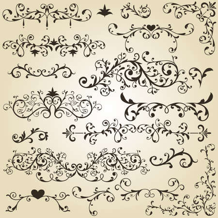 vector vintage floral  design elements on gradient background Stock Vector - 16666993