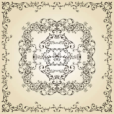 vector vintage floral  composition on gradient background Vector