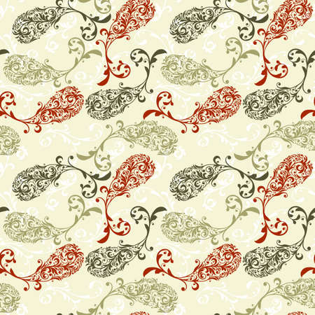 vector seamless pattern with highly detailed paisley elements Vector