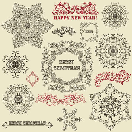 vintage holiday floral  design elements  and snowflakes, fully editable, standard AI fonts  rosewood std, stencil std bold,  Vector