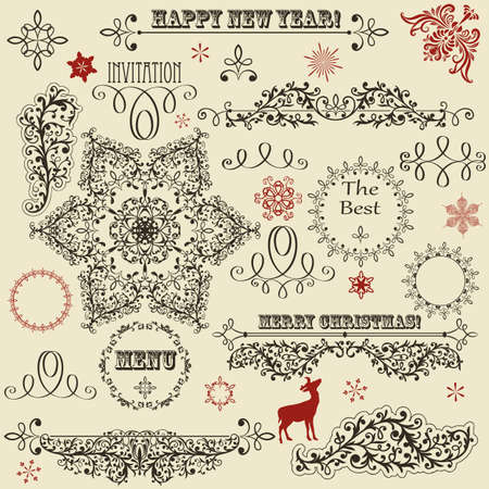 eccentric: vintage holiday floral  design elements  and snowflakes, fully editable, standard AI fonts  rosewood std, eccentric std, gabriola