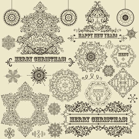 vintage Christmas highly detailed design elements  fir tree, balls, snowflakes, and frames, fully editable file, standard AI fonts  rosewood std ,  eccentric std  Vector