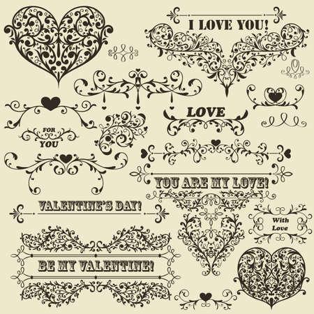 "vintage Valentines  highly detailed design elements, fully editable  , standard AI fonts "",rosewood std"", "",stencil bold  std"", "",cooper std"", Çizim"