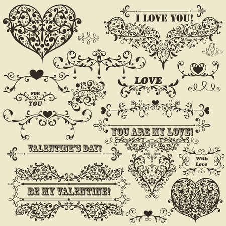 floral ornaments:  vintage Valentines  highly detailed design elements, fully editable  , standard AI fonts &quot,rosewood std&quot, &quot,stencil bold  std&quot, &quot,cooper std&quot, Illustration
