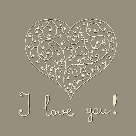 quot:  lacy heart with hand written text &quot,I love you&quot,