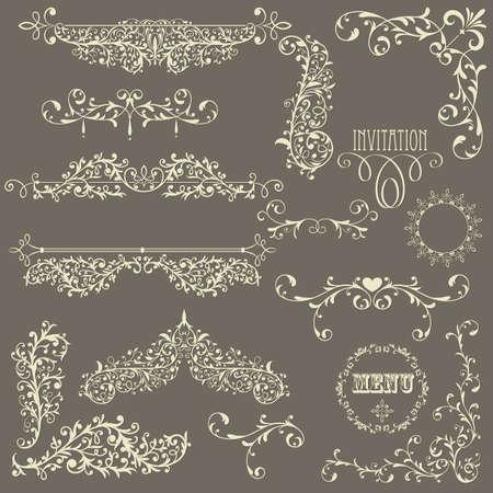 그라데이션 배경에 레이스 빈티지 꽃 무늬 디자인 요소, 완전히 편집 가능한