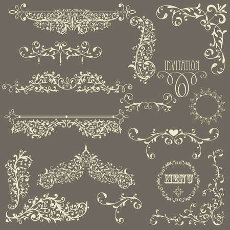 design elements:  lacy  vintage floral  design elements on gradient background, fully editable