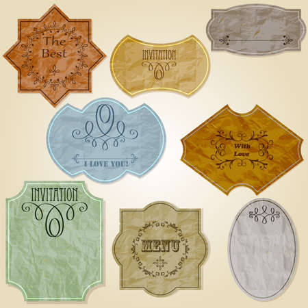 vintage labels of crumpled paper,   transparency effects Vector