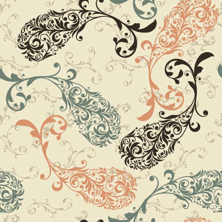 indian fish:  seamless winter pattern with highly detailed paisley elements, fully editable  with clipping masks and pattern in swatch menu