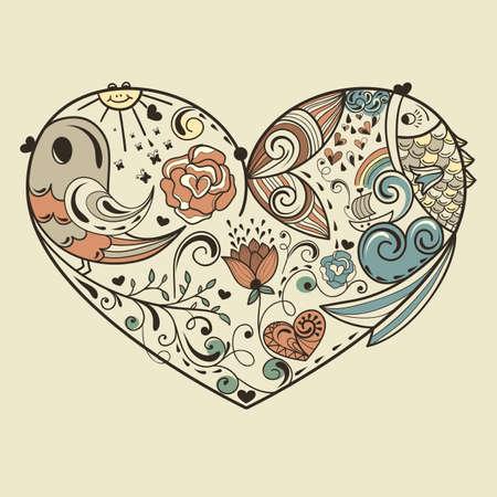 vector allegoracal corazón con los animales y los elementos florales, EPS editables 8 archivo Ilustración de vector