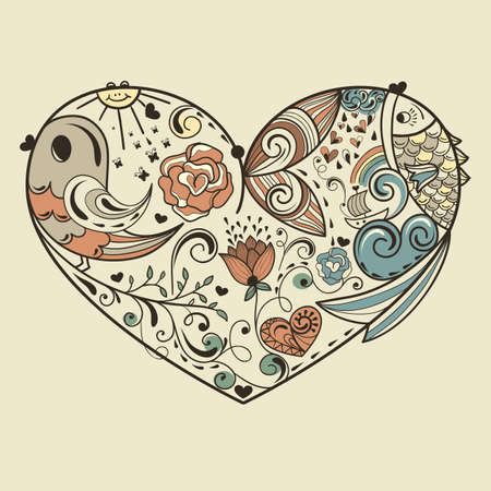 fully editable: vector allegoracal heart with animals and floral elements, fully editable eps 8 file
