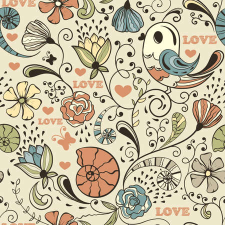 seamless spring pattern, fully editable  , seamless  pattern in swatch menu, standard AI font Cooper std Vector