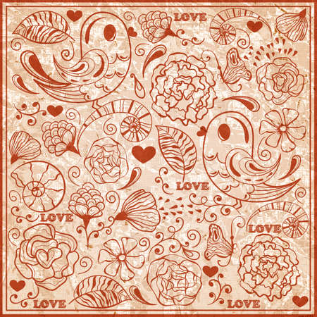 std:  Valentines day pattern  on crumpled textured paper, fully editable  , standard AI font Cooper std