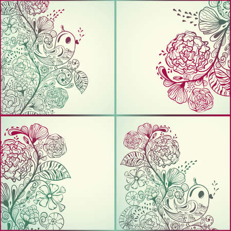 shell pattern:  spring cards with floral pattern and birds, fully editable
