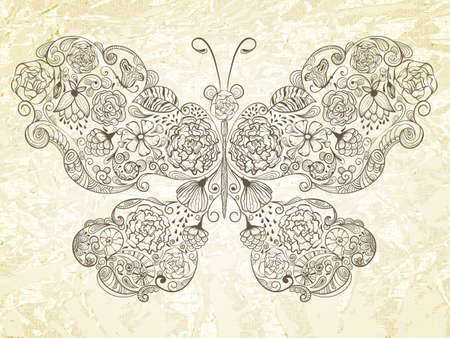 butterfly made of flowers on grungy crumpled paper, fully editable  Vector