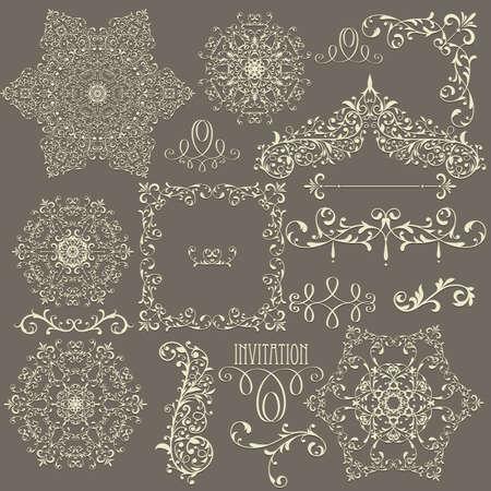 lacy  vintage floral  design elements,  fully editable