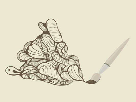 paiting: Vector brush painting funky brown swirl, fully editable eps10  file