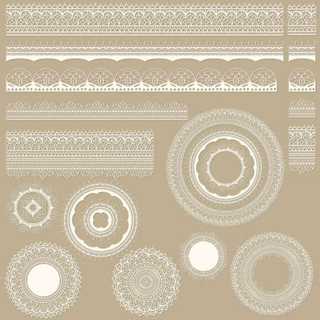 Vector lacy vintage design elements, lacy seamless brushes included, shadows at the separate layer, fully editable eps 8 file Stock Vector - 17955787