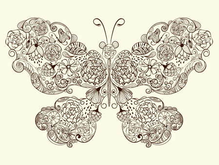 Vector butterfly made of flowers  fully editable eps 8 file Vector