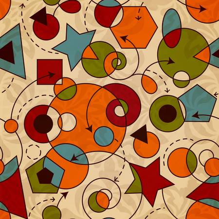 vector abstract  composition with geometric figures on crupled paper, eps 10
