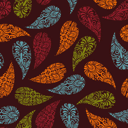 vector seamless Paisley pattern on brown background, pattern in swatch menu Vector